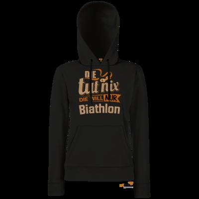 Motiv: Hoodie Damen Classic - Die tut nix - Die will nur Biathlon