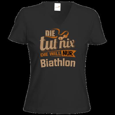 Motiv: T-Shirt Damen V-Neck Classic - Die tut nix - Die will nur Biathlon