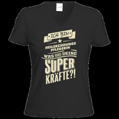 Motiv: T-Shirt Damen V-Neck Classic - Superkraefte - Beruf - Heilerziehungspflegerin