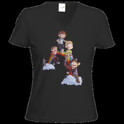 Motiv: T-Shirt Damen V-Neck Classic - Dead by Daylight - Regenbogen