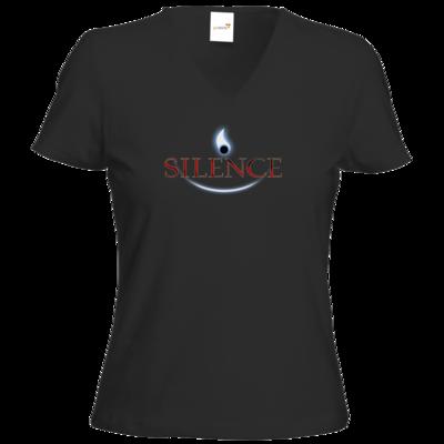 Motiv: T-Shirt Damen V-Neck Classic - Silence - Logo