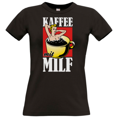 Motiv: T-Shirt Damen Premium FAIR WEAR - Kaffee mit MILF