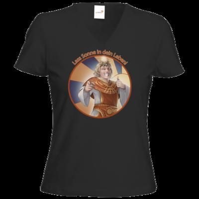 Motiv: T-Shirt Damen V-Neck Classic - Sprüche - Götter - Praios - Lass Sonne in...