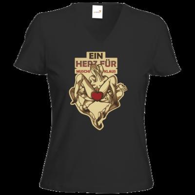 Motiv: T-Shirt Damen V-Neck Classic - Ein Herz fuer Muschiklaus