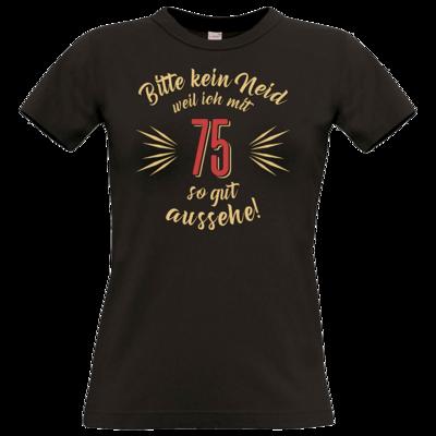Motiv: T-Shirt Damen Premium FAIR WEAR - Geburtstag 75 - Bitte kein Neid - beige