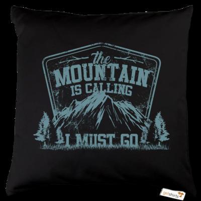 Motiv: Kissen Baumwolle - Sport - Wandern - Outdoor - Mountain is calling - petrol