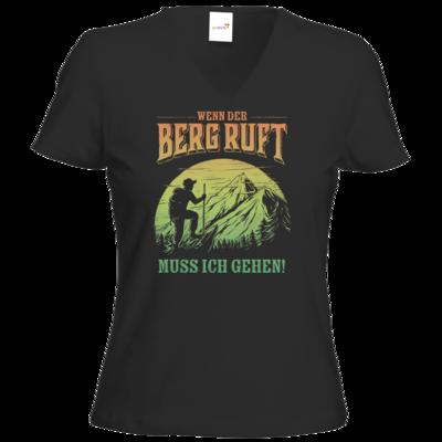 Motiv: T-Shirt Damen V-Neck Classic - Sport - Wandern - Outdoor - Der Berg ruft - farbig