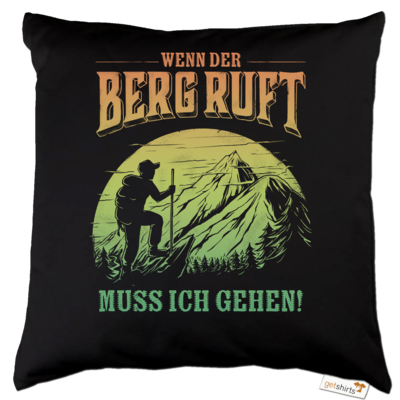 Motiv: Kissen Baumwolle - Sport - Wandern - Outdoor - Der Berg ruft - farbig