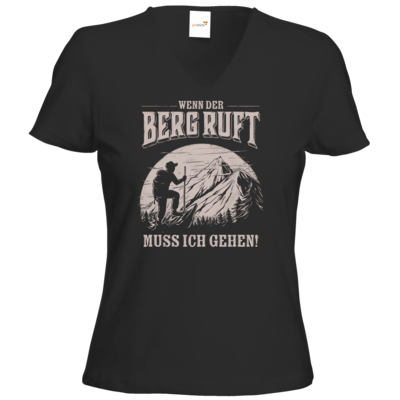 Motiv: T-Shirt Damen V-Neck Classic - Sport - Wandern - Outdoor - Der Berg ruft - uni