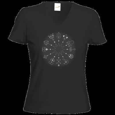 Motiv: T-Shirts Damen V-Neck FAIR WEAR - Götter und Dämonen - Dämonenkreis