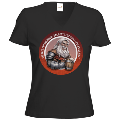 Motiv: T-Shirts Damen V-Neck FAIR WEAR - Sprüche - Zwergenbier