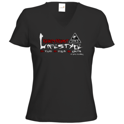Motiv: T-Shirts Damen V-Neck FAIR WEAR - Kampfkunst Lifestyle - Logo 2