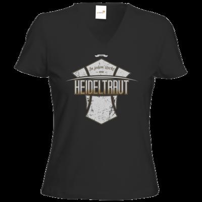 Motiv: T-Shirt Damen V-Neck Classic - Heidelwurst Merch - Heideltraut - Slogan