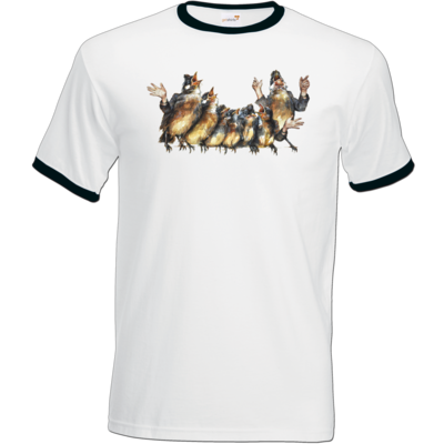 Motiv: T-Shirt Ringer - Vogelmenschen - Chor