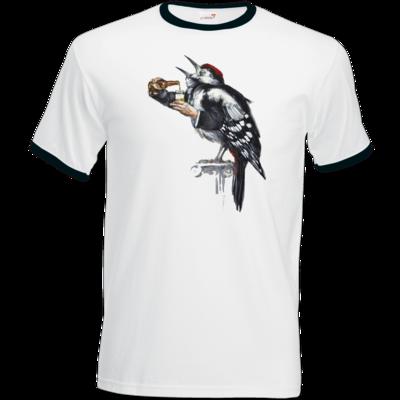 Motiv: T-Shirt Ringer - Vogelmenschen - Schluckspecht