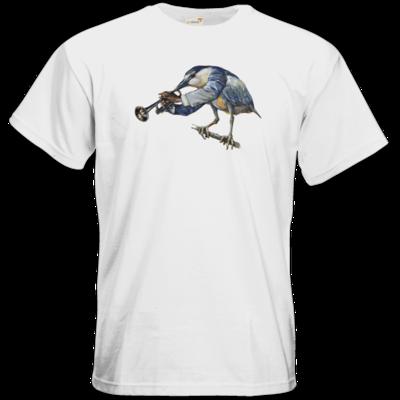 Motiv: T-Shirt Premium FAIR WEAR - Vogelmenschen - Satchmo-Reiher