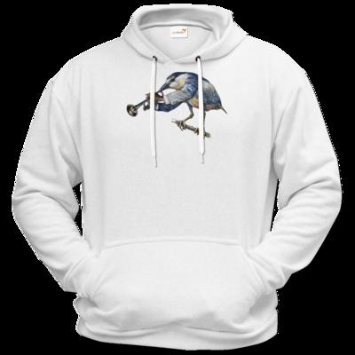Motiv: Hoodie Premium FAIR WEAR - Vogelmenschen - Satchmo-Reiher
