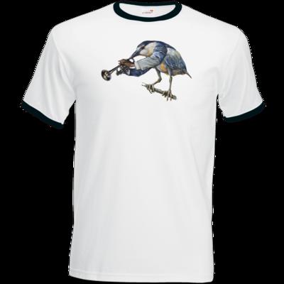 Motiv: T-Shirt Ringer - Vogelmenschen - Satchmo-Reiher