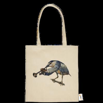 Motiv: Baumwolltasche - Vogelmenschen - Satchmo-Reiher