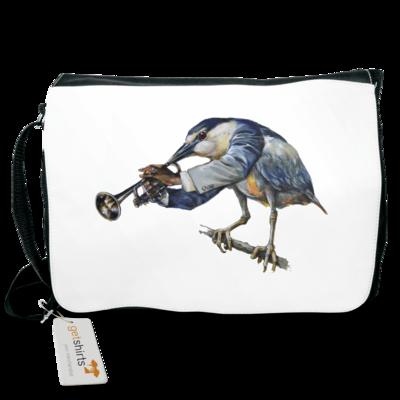 Motiv: Schultertasche - Vogelmenschen - Satchmo-Reiher