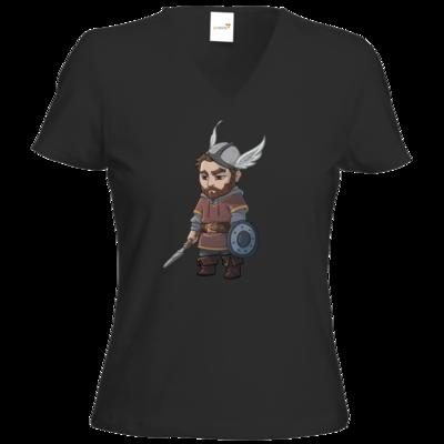 Motiv: T-Shirt Damen V-Neck Classic - Let's Plays - Nubor - Chibi