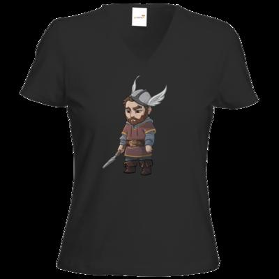 Motiv: T-Shirt Damen V-Neck Classic - Let's Plays - Nubor der Schildlose - Chibi