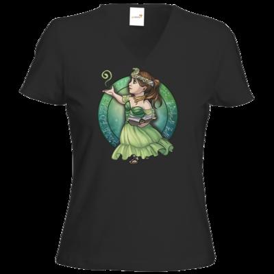 Motiv: T-Shirt Damen V-Neck Classic - Götter - Hesinde - Chibi