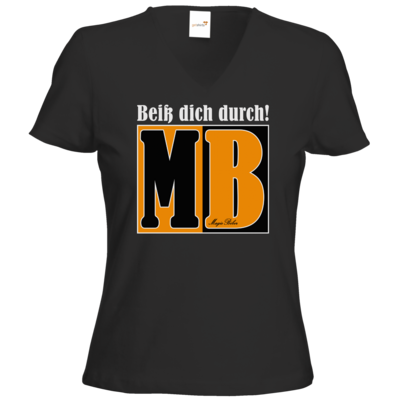 Motiv: T-Shirts Damen V-Neck FAIR WEAR - Beiss dich durch