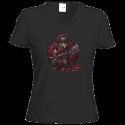 Motiv: T-Shirts Damen V-Neck FAIR WEAR - Götter - Kor - Chibi