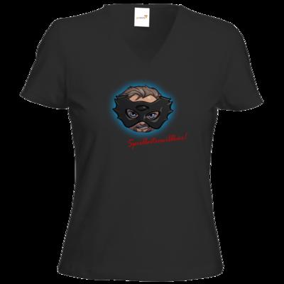 Motiv: T-Shirt Damen V-Neck Classic - Let's Plays - Das Buch der Macht - Chibi - glow