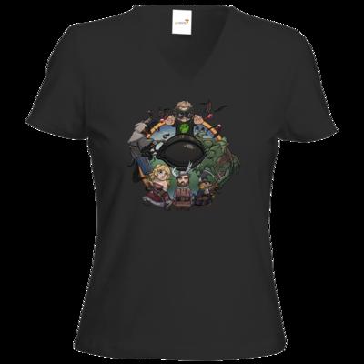 Motiv: T-Shirt Damen V-Neck Classic - Let's Plays - Das Buch Der Abenteuer - Chibi