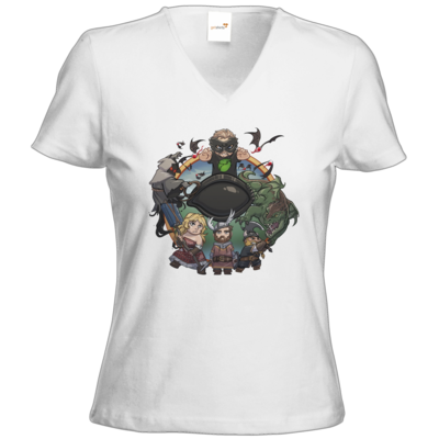 Motiv: T-Shirts Damen V-Neck FAIR WEAR - Let's Plays - Das Buch Der Abenteuer - Chibi