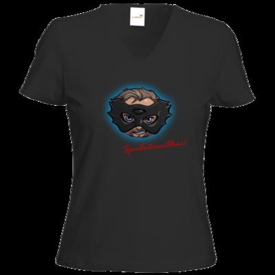 Motiv: T-Shirts Damen V-Neck FAIR WEAR - Let's Plays - Das Buch der Macht - Chibi - glow
