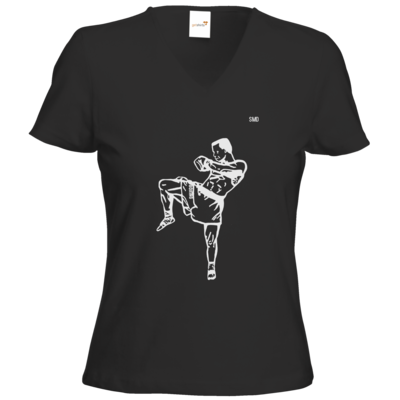 Motiv: T-Shirt Damen V-Neck Classic - SMD - Kickboxer