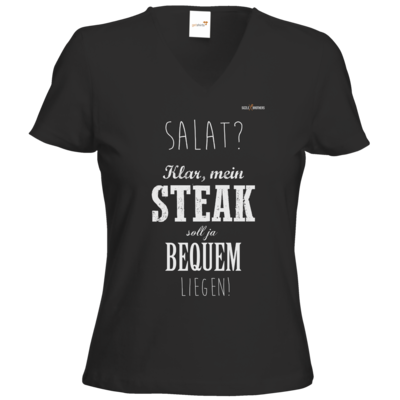 Motiv: T-Shirts Damen V-Neck FAIR WEAR - SizzleBrothers - Grillen - Salat Steak bequem