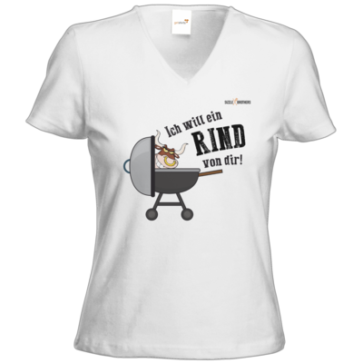 Motiv: T-Shirts Damen V-Neck FAIR WEAR - SizzleBrothers - Grillen - Ich will ein Rind