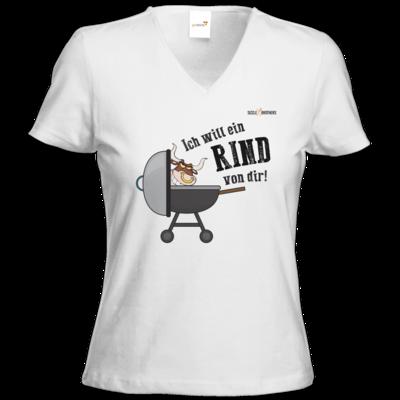 Motiv: T-Shirts Damen V-Neck FAIR WEAR - SizzleBrothers - Grillen - Ich will ein Rind