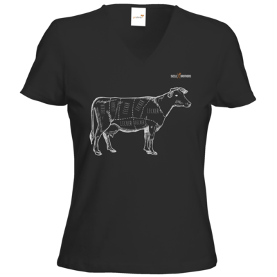 Motiv: T-Shirts Damen V-Neck FAIR WEAR - SizzleBrothers - Grillen - Meatmap