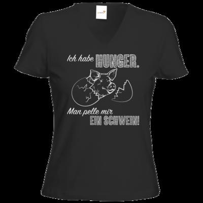 Motiv: T-Shirts Damen V-Neck FAIR WEAR - Sizzle Brothers - Grillen - Schwein pellen