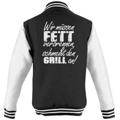 Motiv: College Jacke - SizzleBrothers - Grillen - Fett verbrennen