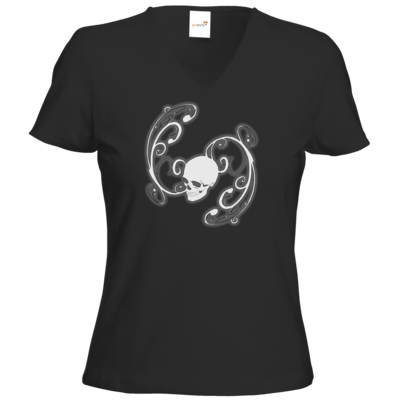 Motiv: T-Shirt Damen V-Neck Classic - Ornamental Skull