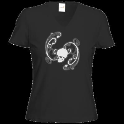 Motiv: T-Shirt Damen V-Neck Classic - Ornamental Skull