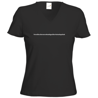 Motiv: T-Shirt Damen V-Neck Classic - Hashtag Pink