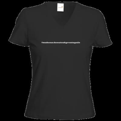 Motiv: T-Shirt Damen V-Neck Classic - Hashtag Nackensteak