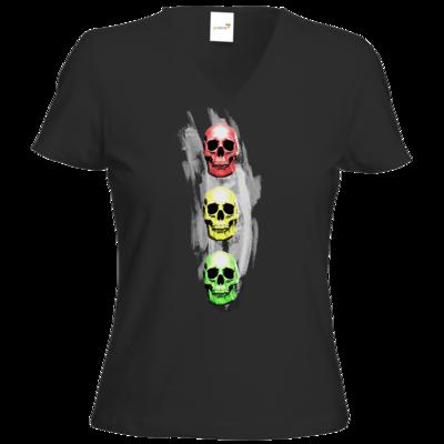 Motiv: T-Shirt Damen V-Neck Classic - Ampelskull