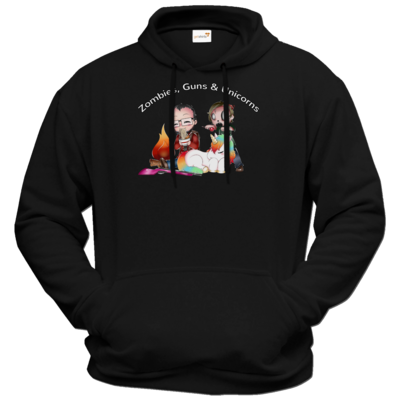 Motiv: Hoodie Premium FAIR WEAR - DerPeci - Zombies, Guns and Unicorns