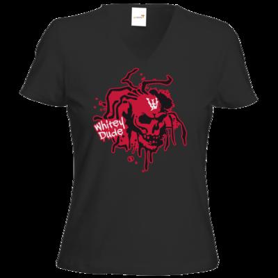 Motiv: T-Shirt Damen V-Neck Classic - Whitey - Logo rot