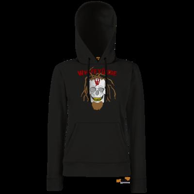 Motiv: Hoodie Damen Classic - Whitey - Pixel Skull mit Schrift