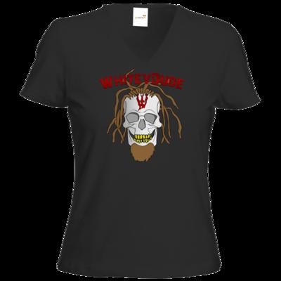 Motiv: T-Shirt Damen V-Neck Classic - Whitey - Pixel Skull mit Schrift