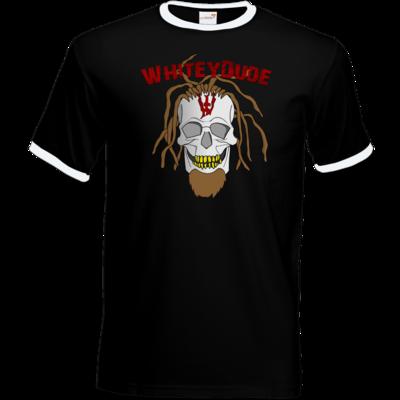 Motiv: T-Shirt Ringer - Whitey - Pixel Skull mit Schrift